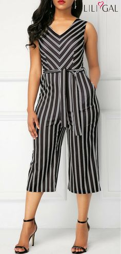 Stripe Print Belted V Neck Jumpsuit #liligal #jumpsuits #womenswear #womensfashion