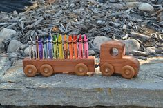 Redwood Crayon Truck with 24 Crayola Crayons by WoodenGiraffeToys Handmade Wooden Toys, Fairy Godmother, Wood Toys, Toy Chest, Gifts For Kids, Best Gifts, Truck, Crayons, Creative