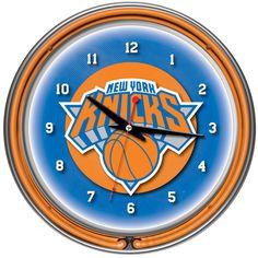 Trademark Commerce NBA1400-NY New York Knicks NBA Chrome Double Ring Neon Clock