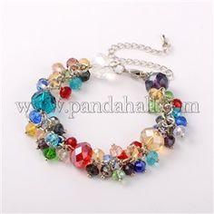 Trendy Faceted Glass Beads BraceletsBJEW-JB01642-06