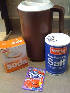 DIY Homemade Electrolyte drink (like Pedialyte). 1 packet of any flavor Kool-aid, 1 tsp salt, 2 qts of water and 1 tsp baking soda (if diahrea is present). Mix together.