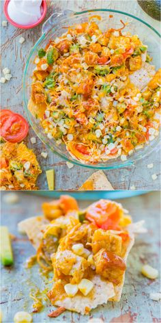 Loaded BBQ Chicken Nugget Nachos (with vegan/GF options) - Chicken nuggets coated in BBQ sauce on top of cheesy nachos with tomato and avocado. Perfect party or Superbowl food!