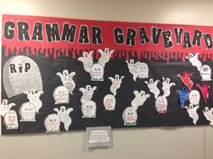 Grammar Graveyard!  Created by my grade 9 students.  We put common errors on tombstones and usage explanations on ghosts. CCSS displayed below. Enjoy!