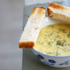 **Broccoli-cheddar cheese soup; creamy with a touch of green.