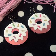 Pink Mirrored and Pastel Sprinkles Doughnuts Laser cut Acrylic Earrings