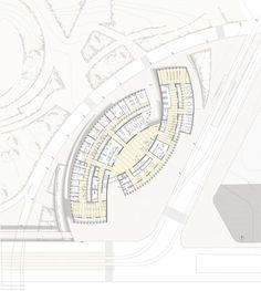 Image may contain: drawing Shopping Mall Architecture, Library Architecture, Architecture Concept Drawings, Futuristic Architecture, Architecture Plan, Plan Hotel, Hotel Floor Plan, Kindergarten Design, Kindergarten Lesson Plans