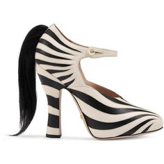 Gucci Zebra Leather Pump ($965) ❤ liked on Polyvore featuring shoes, pumps, animal print pumps, high heel platform pumps, black and white pumps, black leather shoes and leather pumps