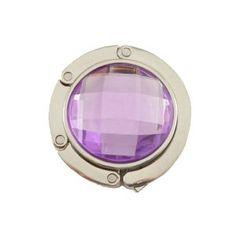 Valentines Day Gifts For Women Fold Clear Crystal Bag Handbag Hanger Holder Purse Hook Light Purple