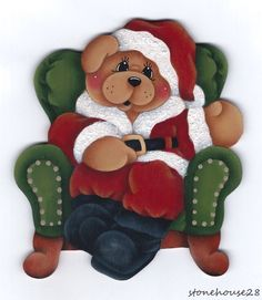 HP TEDDY BEAR Santa Suit FRIDGE MAGNET #Handpainted