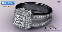 Split Shank Princess Diamond Engagement HaloRing GIA F VS2 18k White Gold 2.75ct
