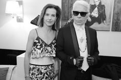 Carole Bouquet, membre du jury du Festival de Cannes en robe Chanel et Karl Lagerfeld, directeur artistique de Chanel, dans la suite Chanel lors d'un cocktail très privé - Festival de Cannes 2014