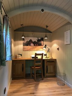 Home office show hut 2017 with oak kneehole desk