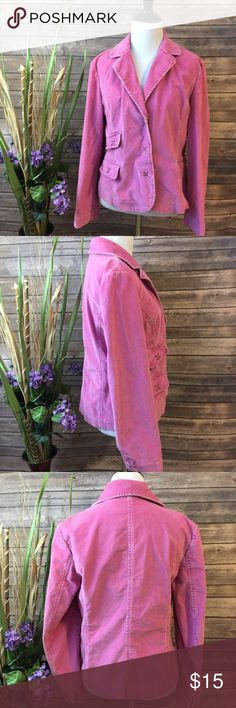 "J. Jill | Lavender Corduroy Jacket Size Petite S good used condition! Some staining on the collar and sleeve (shown)  snap front closure. Approximate measurements (taken with garment lying flat)   Pit to pit: 17""  Length: 23""  Sleeve length: 23"" J. Jill Jackets & Coats"