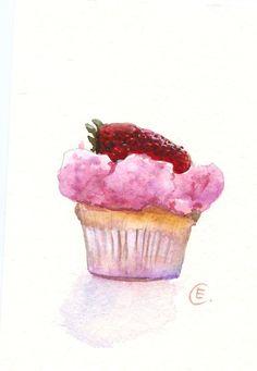 Cupcake 20 Original Watercolor Painting 8x6 by FleurDeParis, $25.00