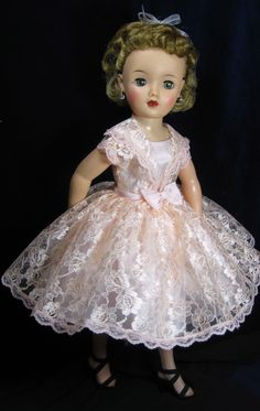 """Reproduction eyelet cherries a la mode made with peach lace on an 18"""" doll"""