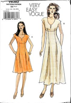 Women's Dress with Empire Waist Fitted Bodice by SammyJoPatterns Modern Sewing Patterns, Vogue Sewing Patterns, Vintage Patterns, Sewing Ideas, Sewing Projects, Petite Dresses, Cute Dresses, Vintage Outfits, Vintage Fashion