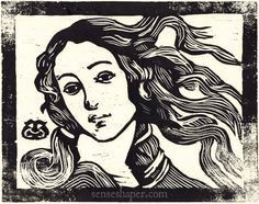 """Woodcut print of Botticelli's Birth of Venus detail from woodblock. (Print 9.25"""" x 7.25"""" on 8.5"""" x 11"""" cotton paper)"""