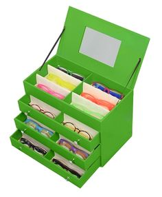 SO handy for folks with a lot of frames. I've been labeling my cases to make finding frames easier but THIS wuold be much better! Small Leather Eyeglass Case Green - PeeperSpecs.com