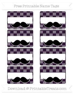 Dark Purple Checker Pattern  Mustache Name Tags