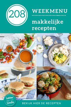 Makkelijke weekmenu met snelle en gezonde recepten voor het hele gezin. Voor dit 208ste weekmenu heb ik weer aantal makkelijke recepten op een rijtje gezet. Zo maak je tomatensoep van verse tomaten, kip kerrie, tonijn burgers en een zoete aardappel stamppot. Bekijk hier de recepten. Chana Masala, Ethnic Recipes, Food, Seeds, Essen, Meals, Yemek, Eten