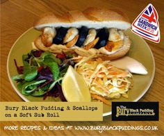 Bury Black Pudding and Scallops on a Soft Sub Roll. Sub Rolls, Black Pudding, Pudding Recipes, Bury, Scallops, Cheesesteak, Hot Dog Buns, Sandwiches, Bread