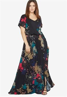 e18d35c7ca55 Plus Size Wrap Maxi Dress Full Figured