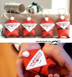 Mini Santa Gift Bags Made Out Of Toilet Paper Rolls ~ Lots of cute toilet paper roll crafts on this site!