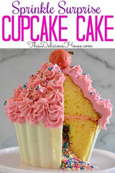 Complete instructions on how to make a Giant Cupcake Cake with a sprinkle piñata surprise and hard shell cupcake liner. Don't miss this sprinkle surprise cupcake cake pan tutorial. Giant Cupcake Recipes, Large Cupcake Cakes, Cupcake Smash Cakes, Big Cupcake, Cake Recipes For Kids, Cupcake Mold, Giant Cupcakes, Ladybug Cupcakes, Kitty Cupcakes