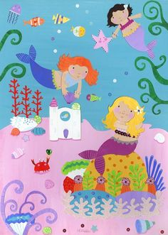 Mermaids Canvas Print by Happy Spaces Limited at Bouf.com