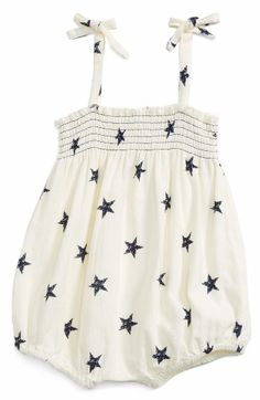 Most adorable Star print Infant Girl's Peek Lola Bubble Romper A smocked bodice keeps the fit comfy and oh-so-cute on this lightweight cotton romper with an adorable bubble silhouette. Brand: PEEK.