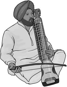 [ dilruba ] bowed string instrument. Royalty free clipart. (India)