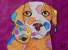 "Aceo Original ""I FOUND YOUR PAINTS PUPPY"" ON EBAY"