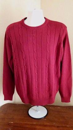 OSCAR DE LARENTA Mens 100% Cotton Brick Red Long Sleeve Sweater Size L NWT #OscardelaRenta #Crewneck