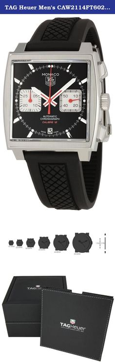 TAG Heuer Men's CAW2114FT6021 Monaco Black Dial Watch. Polished and fine-brushed steel case with a black rubber bracelet. Fine brushed steel bezel. Black dial with luminous hands and stick hour markers. Minute markers. Date displays at the 6 o'clock position. Chronograph - two sub-dials displaying: 30 minutes and 60 seconds. Automatic movement. Scratch resistant sapphire crystal. Skeleton case back. Case diameter: 39 mm. Water resistant at 100 meters (330 feet). Functions: hours, minutes...