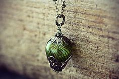 Hot Air Balloon Necklace Absinthe Green Glass by TheCreakingDoor