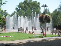 Water fountain at Beaverton City Park - new family hangout when it gets hot.