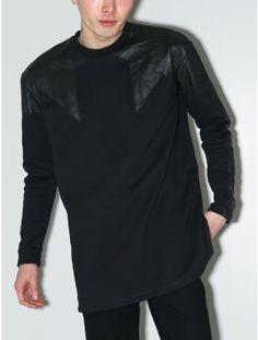 Horace leather shoulder sweatshirt