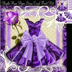 Gorgeous Purple Roses Paper Dress card Kit on Craftsuprint designed by Julie Hutchings - Stunning Paper Dress Card Front KitThe Kit consists of 2 sheet to print and assemble sheet 1 Main card front and sentimentssheet 2 decoupageSentiments To someone SpecialTo My FriendWith LoveMum With LoveHappy BirthdaySuch a lovely easy card front to make with stunning results when complete. Just add your own embellishments Many thanks as always for liking my designs and making such beautiful cards from…