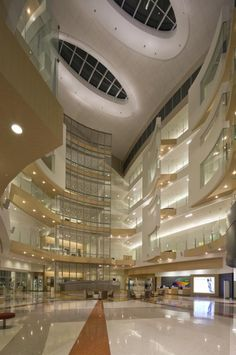 A five-story atrium with skylights connects the tower's two buildings. Photo: © Brad Feinknopf