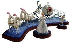 WDCC Disney Classics Cinderella & Coach Off to the Ball #WDCCDisneyClassics #Art.. Carriage supports and wheels: Made of bronze.  Reins: Gold chain.Horses & Coach: Gold paint.Coach Door: Opens.  Footman' hair: Metal hair.  Cinderella, Coach and Horses' plumes: Painted with opalescent paint. Second in Series. Numbered Limited Edition 1,000.