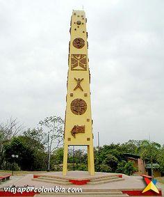 Obelisco ubicado en el ombligo de Colombia, en Puerto López - Meta