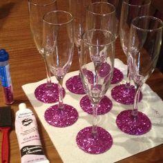 glitter glasses - add sparkle to your reception @Megan McCracken @Donna Welch