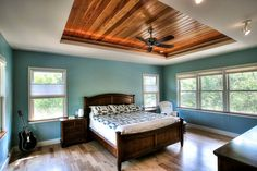 Some Of The Best Ceiling Paint Ideas For Your House Ceilings of the house play an important role in enhancing the interior. Here are few of the best ceiling paint ideas that you can choose for your room and also you can check out. Tray Ceiling Bedroom, Bedroom Walls, Blue Bedroom, Bedroom Ideas, Master Bedroom, Bedroom Furniture, Modern Bedroom, Bedroom Closets, Trendy Bedroom