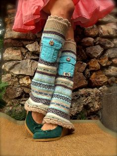 yummy LEG WARMERS with POCKETS Flared leg warmers Sea foam Beige Bell Bottoms Fall Fashion up cycled unique eco friendly clothing