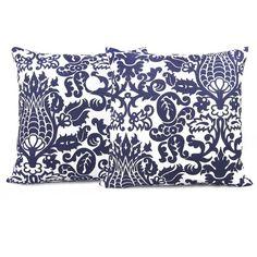 Navy damask pillows