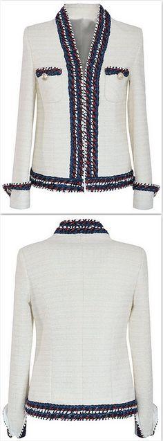 Braided-Trim Ivory Tweed Jacket