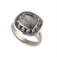 NEW STYLE 925 STERLING SILVER BLACK RUTILE 4.76g FANCY RING JEWELLERY #DSJ #RING