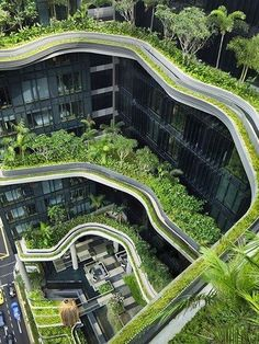 """The Park Royal Pickering in Singapore is an architecture gem and reminds its guests of the 'Hanging Gardens of Babylon"""" Located on the edge of the city, its maximum of use of green space separates this hotel from others in. Architecture Durable, Architecture Cool, Sustainable Architecture, Sustainable Design, Landscape Architecture, Landscape Design, Singapore Architecture, Garden Design, Urban Landscape"""