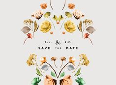 Floral Save the Date / Lisa Hedge graphic design invitation wedding Design Art, Print Design, Pattern Design, Free Pattern, Design Ideas, Floral Save The Dates, Design Graphique, Graphic Design Typography, Flower Typography