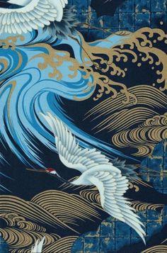 Large White Birds on an Indigo Background -Nobu Fujiiyama - Asian Themed Soaring… Japanese Artwork, Japanese Prints, Graphic Design Illustration, Illustration Art, Botanical Illustration, Japan Painting, Art Asiatique, Architecture Tattoo, Korean Art